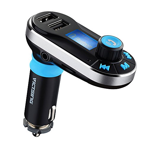 VicTsing Bluetooth FM Transmisor Manos Libres Car Kit, Cargador Controlador USB y Micro SD para Los Móviles Inteligentes (XiaoMi, Huawei, Galaxy, Sony Xperia, HTC Uno X Uno M7 M8, iPhone, etc.)-