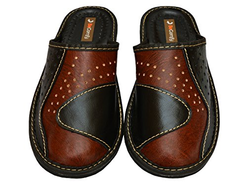 Leather Brown Black Flops Genuine Mens Mules Slippers Flip 5x0wfwqY