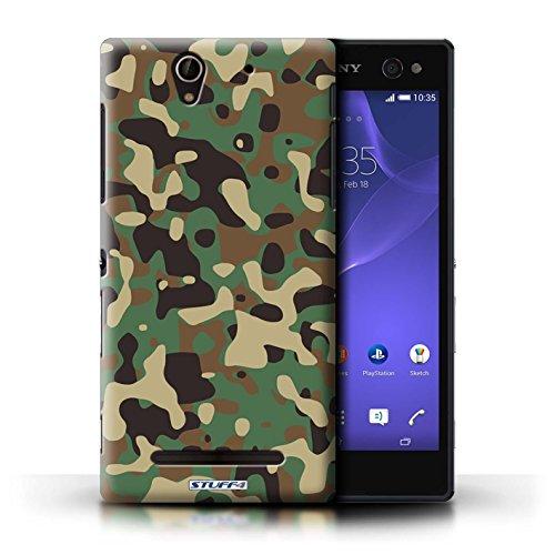 Kobalt® Imprimé Etui / Coque pour Sony Xperia C3 / Rose 1 conception / Série Armée/Camouflage Vert 3