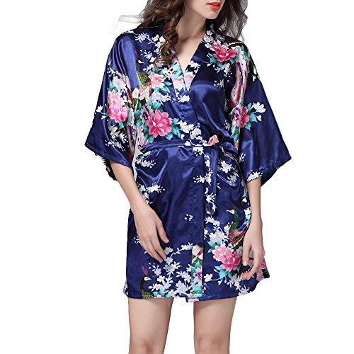 TIAQUE Femmes de Satin de Soie Kimono Sexy Robe Meignoir Lisse Pyjama Longue Courte Taille (M, Bleu foncé)