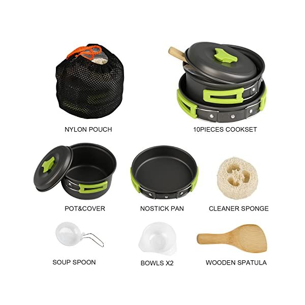 BelleStyle 9 Pcs Camping Cookware Mess Kit - Backpacking Hiking Outdoor Picnic Cooking Gear - Bowls Utensil Pot Pan Set -Bag Cooking Equipment Cookset - Lightweight, Compact, Durable Pot Pan Bowl 2