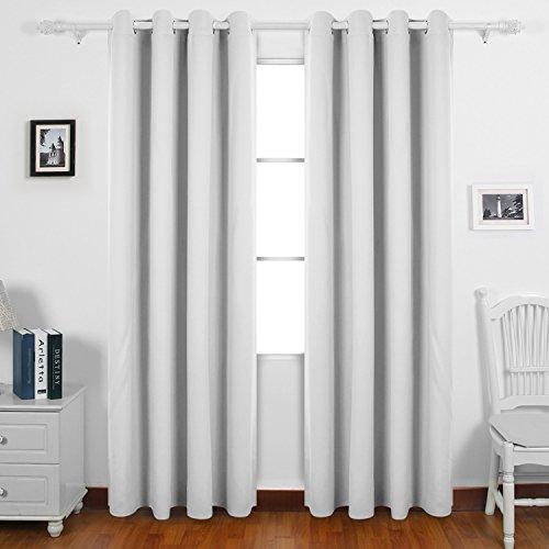 gsgardine mit Ösen Gardinen Wohnzimmer Vorhang Blickdicht 245x140 cm Grau Weiß 2er set (Dekoration Mit Gardinen)