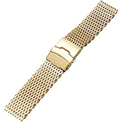 YISUYA Golden 18mm Band Stainless Steel Milanese Shark Mesh Watch Band Strap Bracelet