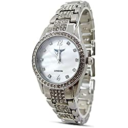 Branded Fashion Unique Ladies Watch / Womens Watches at Discounted Sale Price - Silver Rhinstone Crystal Analog Dial Quartz