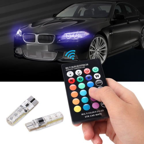 BEESCLOVER Lot de 2 Ampoules LED T10 5050 Multicolore pour Voiture