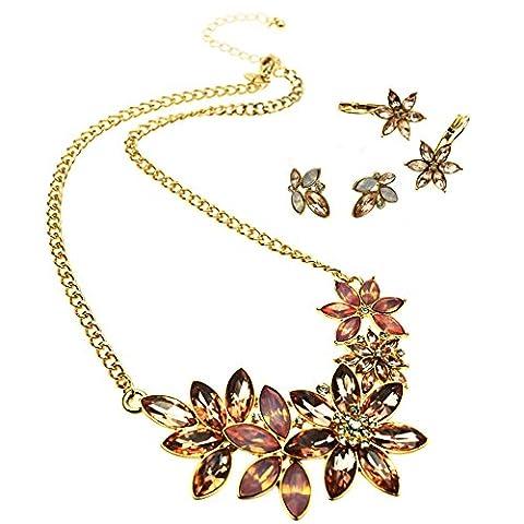 WMAOT Navette Kristall Blume Halskette Set