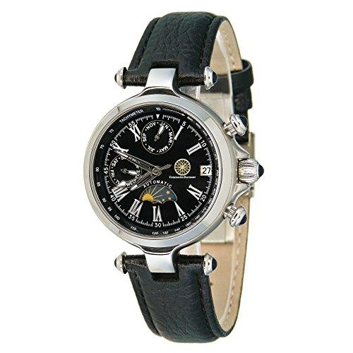 Constantin Durmont Mirage CD-MIRG-AT-LT-STST-BK - Reloj analógico automático unisex, correa de cuero color negro
