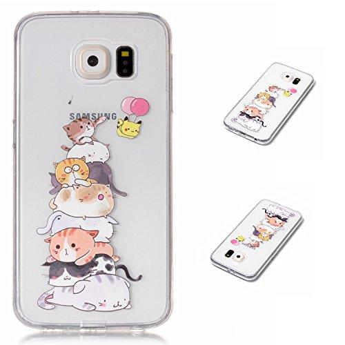 3752c0995e2 Samsung Galaxy S6 Funda, MHHQ Generic [Ultra-delgado] [Shock-Absorción]  [Anti-Arañazos] [Transparente] TPU Silicona Case Cover Parachoques Carcasa  Funda ...
