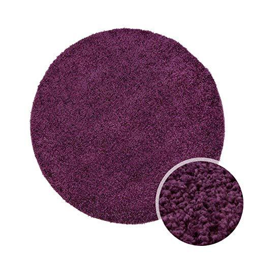 ayshaggy Shaggy Teppich Hochflor Langflor Einfarbig Uni Lila Weich Flauschig Wohnzimmer, Größe: 80 x 80 cm Rund