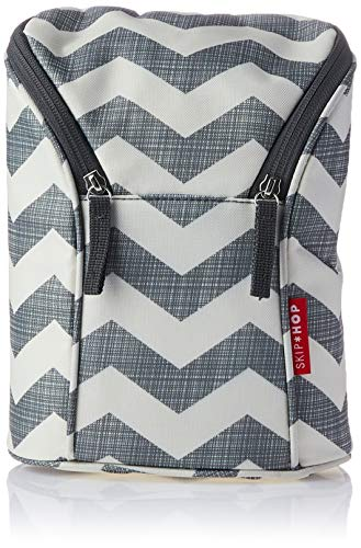 Skip Hop Chevron - Bolsa doble para biberón, color blanco