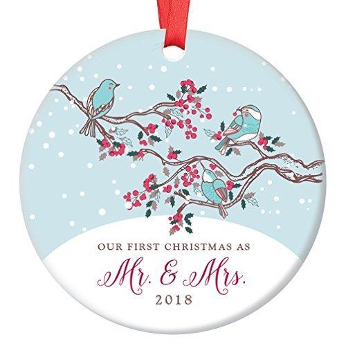 ur First Christmas as Mr & Mrs 2018 Winter Birds 1st Married Christbaumschmuck Rustikal Weihnachtsbaum Dekoration Hängend ()