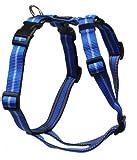 Feltmann Mopsgeschirr Hundegeschirr Soft Nylon, Blau mit Streifen, 7-13 kg, 20mm