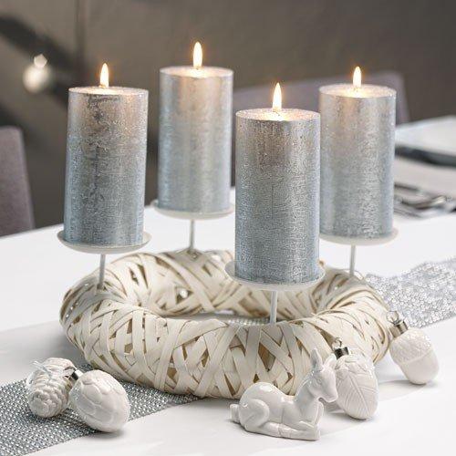 Adventskranz für Kerzen für Weihnachten Modern-Adventskranz aus Holz in moderner puristischer Ausführung mit 4 Kerzentellern aus Metall. Für Kerzen bis max. Ø 6,8 cm Farbe: Weiss Neu! Dekokranz Adventskranz