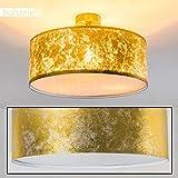 Exklusive Deckenlampe Foggia mit Stoffschirm in Gold - Deckenlampe mit textilem Lampenschirm - Ø 40 cm - Zimmerlampe für Wohnzimmer, Flur, Dielen, Schlafzimmer, Küche - LED-fähig - 3x E14-40 Watt