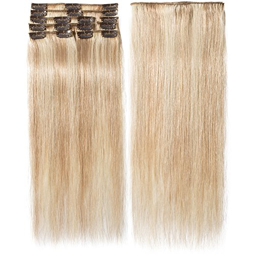 40-55cm Extension Cheveux Naturel a Clip (65-75g) 8 Pcs Extensions de Cheveux Humains à Clips - #18+613 Sable blond Méché Blond très clair, 40cm/65g - 100% Remy Human Hair Extension Clip