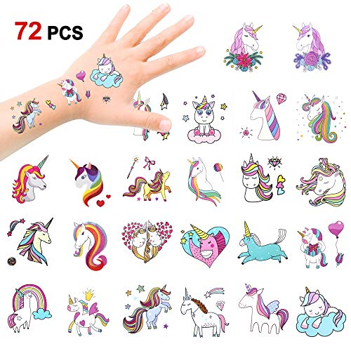 Konsait 72 x Einhorn Tattoos Set, Einhorn temporäre Tattoos Kinder Tattoos Aufkleber für Mädchen Kindergeburtstags Mitgebsel, Einhorn Party deko, 2 Zoll