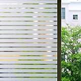 Zindoo Fensterfolie Sichtschutz Sichtschutzfolie Streifen Milchglasfolie Fenster Aufkleber Glas Statische Folie für Büro und Zuhause 45*200 cm