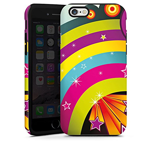 Apple iPhone 4 Housse Étui Silicone Coque Protection Arc-en-ciel couleurs Étoiles Cas Tough terne