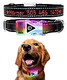 Vcalabashor Hundehalsband mit Name und Telefonnummer,Personalisierte Led Hundehalsband,Reflektierende Bestickte Beleuchtete Hundehalsbänder für Kleine, Mittlere und Große,Schwarz