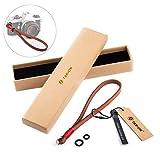 TARION Echtleder Handschlaufe Handgelenkschlaufe Strap Armbänder Tragegurt naturfarben 8mm für DSLR Kamera, Applikationsband Rot