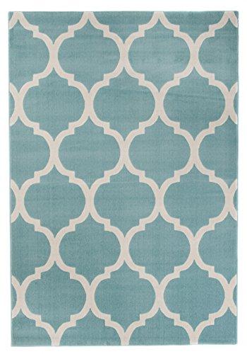 Tapiso Canvas Modern Teppich Kurzflor Designer Pastell Blau Creme Teppiche mit Marokkanisch Geometrisch Muster Perfekt für Wohnzimmer, Jugendzimmer ÖKOTEX 160 x 230 cm -