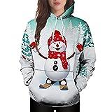 Frauen Langarm Hoodies Weibliche Weihnachten Sweatshirt Känguru Nette Tasche Cartoon Schneemann Print Pullover Moonuy