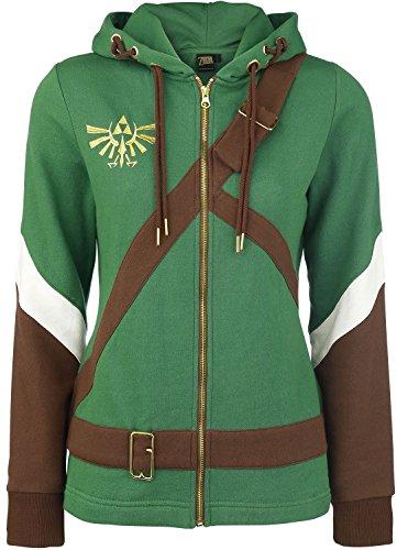 The Legend of Zelda Cosplay Zip-Hoodie Chaqueta con capucha Mujer verde/marrón S