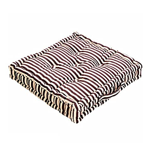 Chocolate & Beige Thin Stripe Floor Cushion - 100% Cotton - 40 x 40 x 10 cm Square - Indoor - Garden - Dining chair booster Seat Cushion