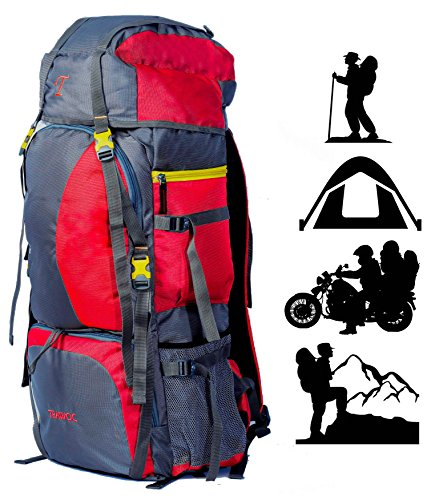 TRAWOC 60L Water Proof Travel Backpack for Outdoor Hiking Trekking - HK001 Red ( 1 Year Warranty )