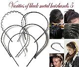 #3: Generic Manasvini Men's and Women's Metal Hair Bands (Black) - Combo Set of 5