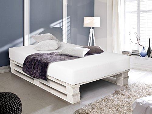 Palettenbett Bett aus Paletten in 15 x 15 cm weiß, 15 x 15 cm ...