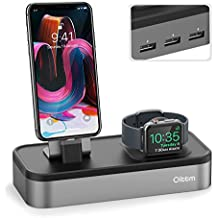 Oittm 5 USB Puertos Base de Carga Soporte para iPhone 7/iPhone 7 Plus/iPhone 8 / iPhone 8 Plus/iPhone X/iPhone 6S Plus/iPhone 6/iPhone 6 Plus/iPhone 5/iPhone SE/Apple Watch Series 3/2/1/ Nike+ (Gris)
