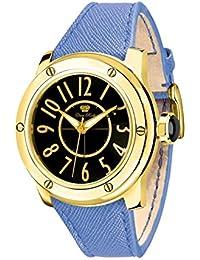 Glam Rock Damen Aquarock 42mm Blau Leder Band vergoldet Quarz Fall Schwarz Dial Analog Armbanduhr gr50007F