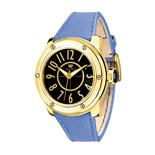 Glam Rock Women's Aquarock 42mm Blue Leather Band Gold Plated Case Quartz Black Dial Analog Watch GR50007F