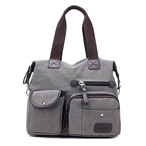 Damen Handtasche, Gindoly Multi Pocket Large Schultertasche Tote Fashion Handtasche Canvas Hobo Bags für Reisen Schule Shopping und Arbeit (Grau) (Canvas-handtasche)