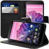 kwmobile Wallet Case Hülle für LG Google Nexus 5 - Cover Flip Tasche mit Kartenfach und Ständerfunktion in Schwarz