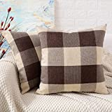 MERNETTE Pack of 2, Plaid Cotton Linen Square Decorative Throw Pillow Cover Cushion Covers, Pillowcase Pillow Shams, for Sofa Bedroom Car Chair 16x16 Inch/40x40 cm (Plaid Brown+White)