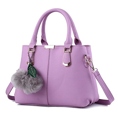 Hqyss Ladies Handbags Sweet Lady Atmospheric Fashion Pu Leather Leather Shoulder Handbag Messenger Purple Taro
