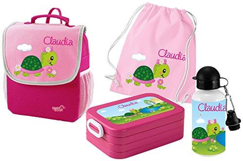 Mein Zwergenland Set 5 Kindergartenrucksack mit Brotdose, Turnbeutel aus Baumwolle und Trinkflasche Happy Knirps Next mit Name Schildkröte, 4-teilig, Pink