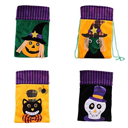 HEALIFTY 4PCS Süßigkeits-Beutel-Partei-Ankleidespiel für Halloween-Karikatur-Muster-Vlies Kordelzug-Süßigkeitstaschen und -taschen (Halloween Für Bulk-süßigkeiten)