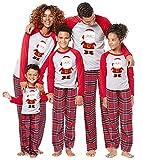 Memoryee Babbo Natale Stampa Natale Famiglia Matching Pigiama Set O-Collo T-Shirt a Maniche Lunghe Plaid Pantaloni Lunghi Homewear/Adult/Dad-XL