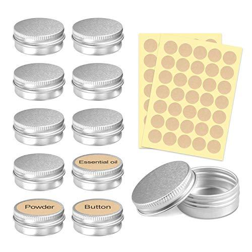 PAMIYO 24 Stücke Set Aluminium Leer Döschen (Mit 2 Stücke runde Aufkleber), 5ml Leere Dosen mit Schraubdeckel für lippenbalsam, Lotion, Creme, Masken, Mini-Kerzen, Kosmetik(Silber) -