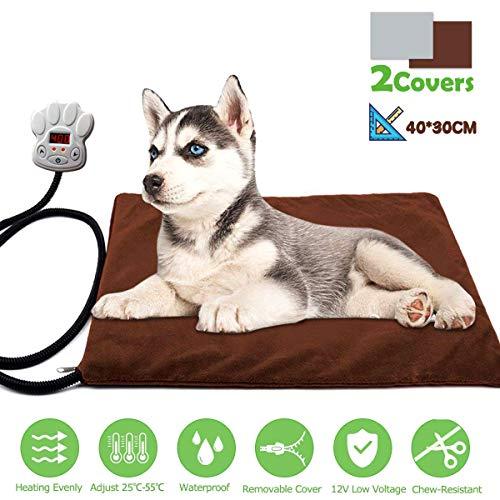 FOCHEA Manta Eléctrica Mascotas, Cojín de Calefacción para Perros y Gatos con 7 Niveles de Temperatura...