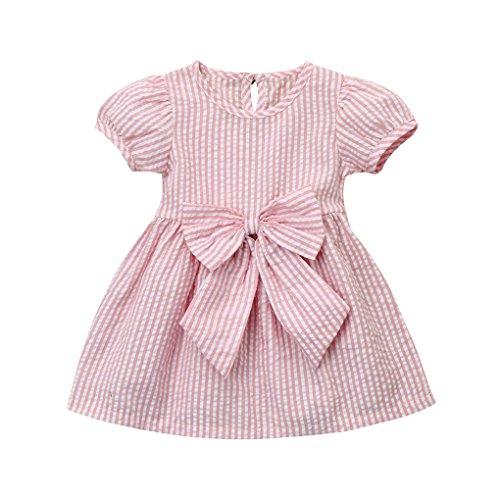 Ropa para niñas para 6 – 24 meses JYJM Moda Casual Niñas Niñas Infantil Niños Ropa de Rayas Fila Princesa Traje Vestido Playa Falda Vestido Regalo para Niñas Verano Camisa de Manga Corta Chaleco Lazo Falda Mini rosa rosa Talla:90