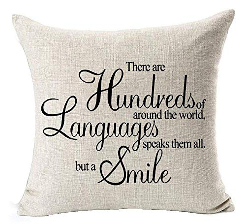 Best Gift Warm Funny Sweet Sayings There Are Hundreds Of Around The World Language Speaks Them All But A Smile Cotton Linen Decorative Home Office Throw Pillow Case Cushion Cover Square 18 X 18 Inches