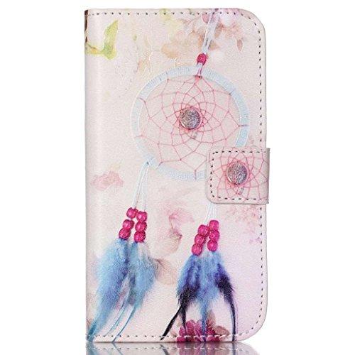 Étui en cuir pour iPhone 5/5S se, w-pigcase coloré Étui en cuir PU avec exquis design raffiné et confortable feelling pour Apple iPhone 5/5S/5C/SE, Wind chime, Samsung Galaxy J1 Ace Wind chime