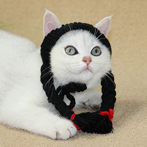 gewebte Haustier Hut Mädchen Hut Katze Perücke Katze Hut lustige Hund Schmuck Kopfschmuck Haustier Katze Hund niedlich Kopfschmuck Katze Mode handgefertigten Hut Dress up ()