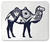 Egyptian Mouse Pad, Ancient Egypt Symbols Giza Pyramids Pharaoh Camel Archeology Civilization Gaming Mousepad Office Mouse Mat Dark Blue and White