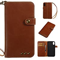 iPhone X Case [With Tempered Glass Screen Protector],idatog(TM) Magnetic Flip Book Style Cover Case ,High Quality Classic Colorful Cool Pattern Design Premium PU Leather Folding Wallet Case With [Credit Card Slots] Stand Function Folio Protective Holder Perfect Fit For iPhone X Brown