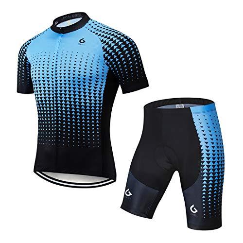 GWELL Herren Radtrikot Atmungsaktive Fahrradbekleidung Set Trikot Kurzarm + Radhose mit Sitzpolster für Radsport Blau Farbverlauf (Set mit Shorts) L